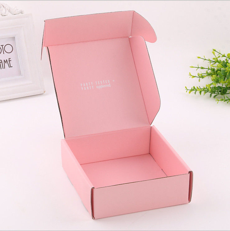 Custom Corrugated Boxes Custom logo design Pink rectangular mail box express parcel carto